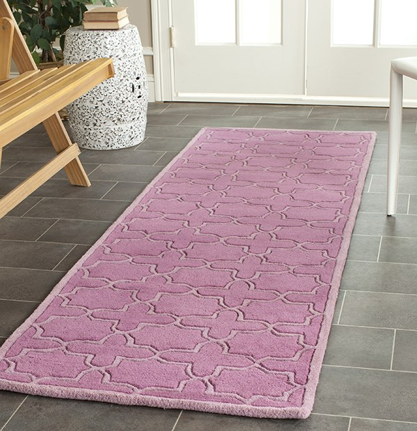 Pink (D) Textured Solid Area Rug