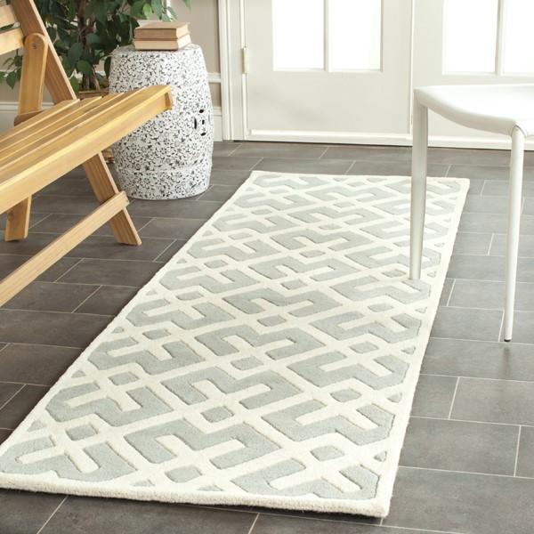 Grey, Ivory (E) Contemporary / Modern Area Rug
