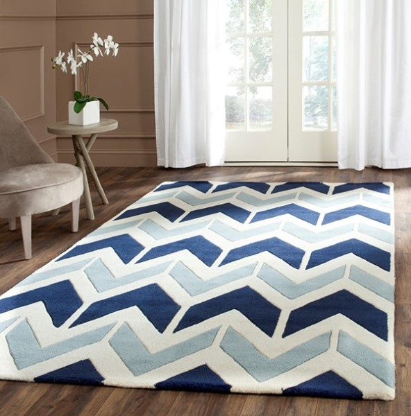 Dark Blue, Light Blue (N) Chevron Area Rug