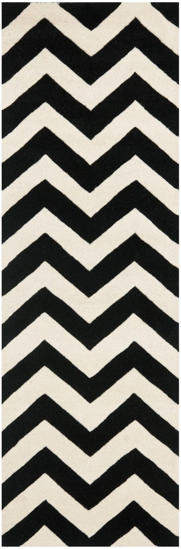 Ivory, Black (A) Chevron Area Rug