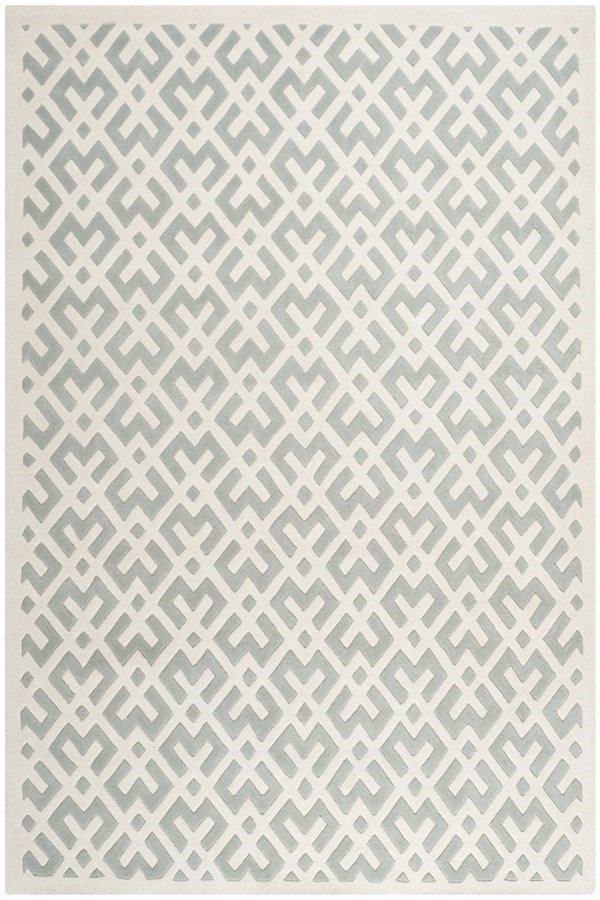 Grey, Ivory (E) Moroccan Area Rug