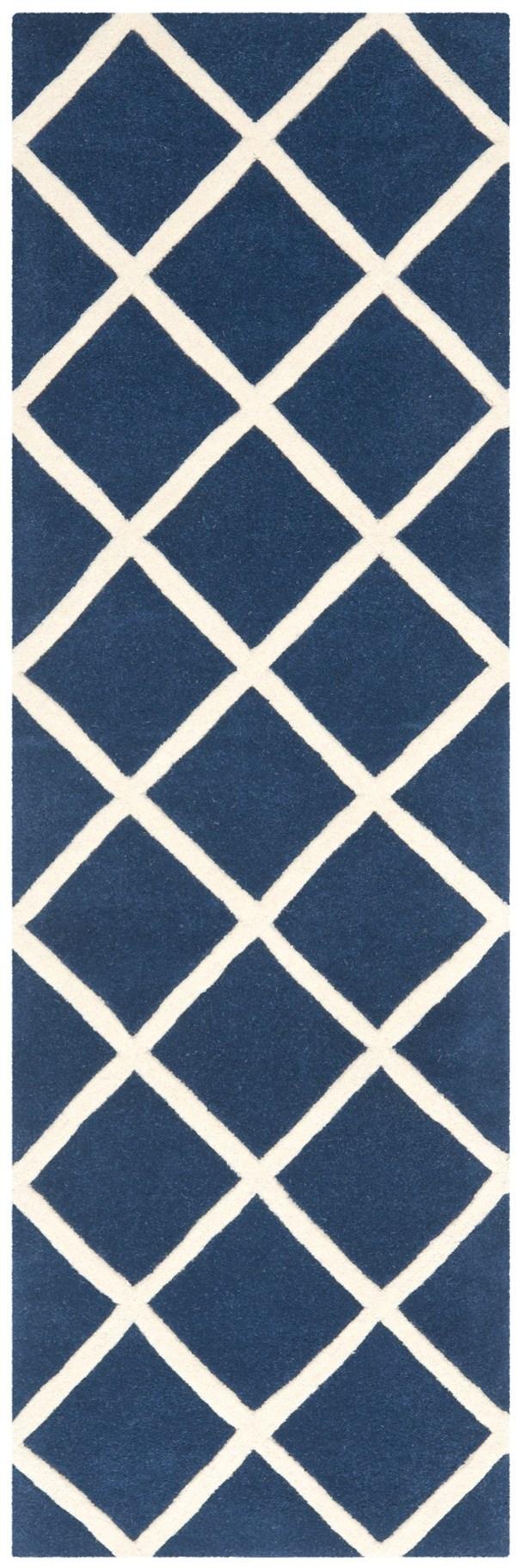 Dark Blue, Ivory (C) Transitional Area Rug