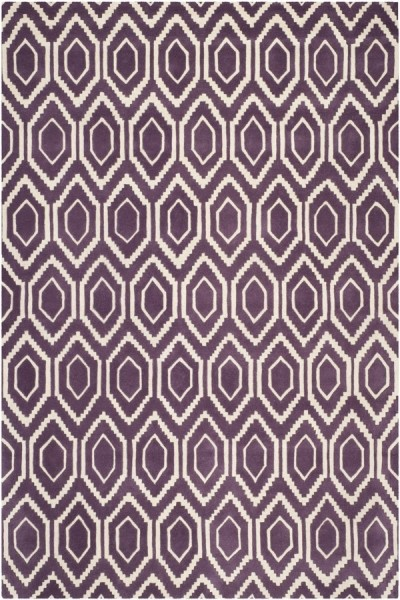Purple, Ivory (F) Contemporary / Modern Area Rug