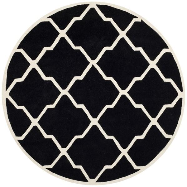 Black, Ivory (K) Moroccan Area Rug