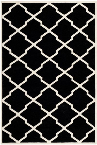 Black, Ivory (K) Contemporary / Modern Area Rug