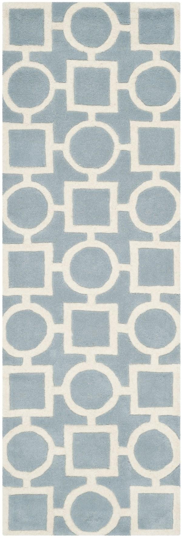 Blue, Ivory (B) Transitional Area Rug