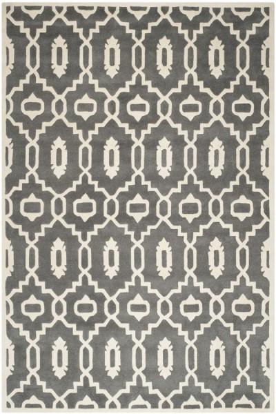 Dark Grey, Ivory (D) Contemporary / Modern Area Rug