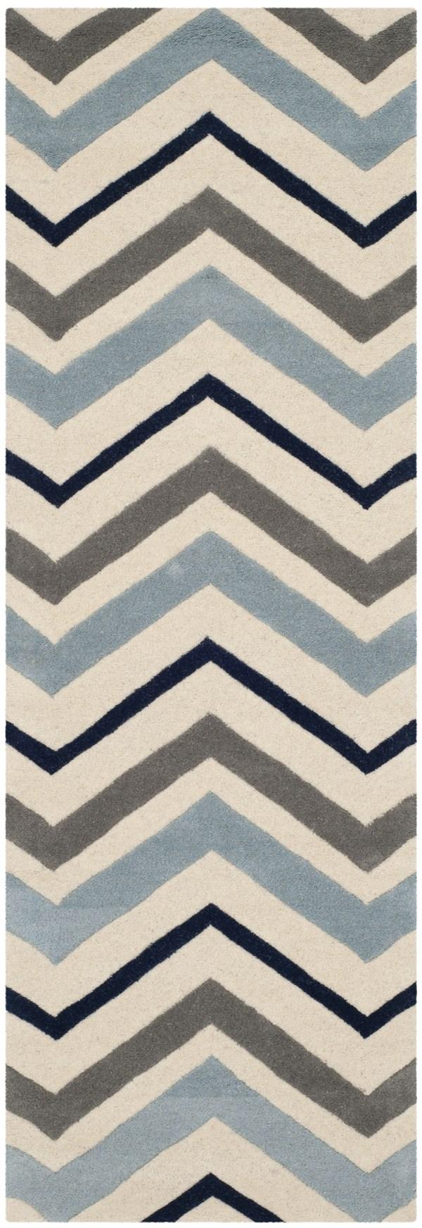 Ivory, Dark Grey (X) Contemporary / Modern Area Rug
