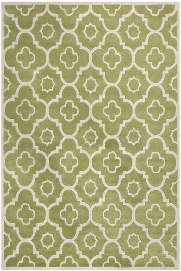 Green, Ivory (N) Moroccan Area Rug