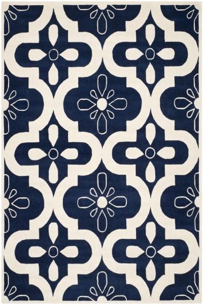 Dark Blue, Ivory (C) Contemporary / Modern Area Rug