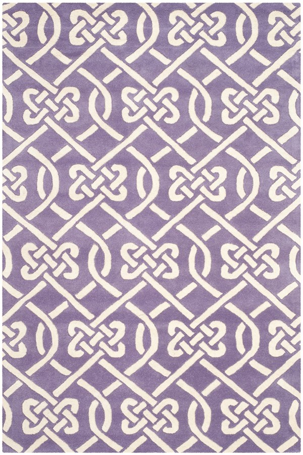 Purple, Ivory (F) Transitional Area Rug