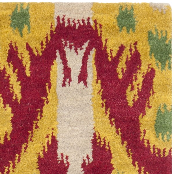 Beige, Yellow (A) Ikat Area Rug