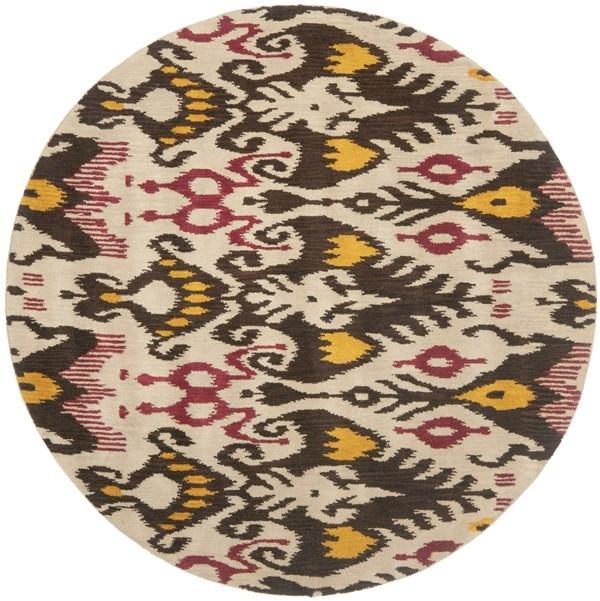 Beige, Brown (A) Ikat Area Rug