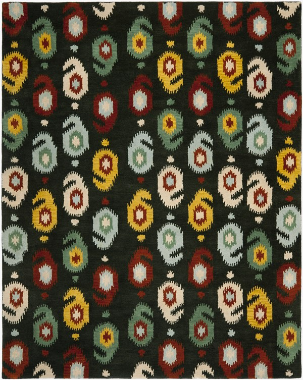 Charcoal Red (A) Ikat Area Rug