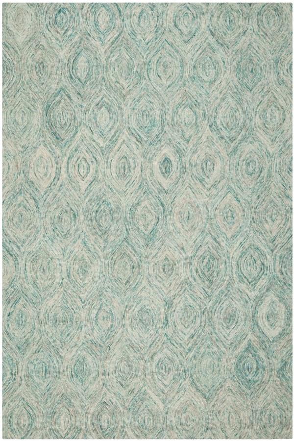 Ivory, Sea Blue (A) Moroccan Area Rug