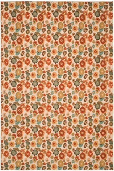 Beige, Red (1391) Floral / Botanical Area Rug