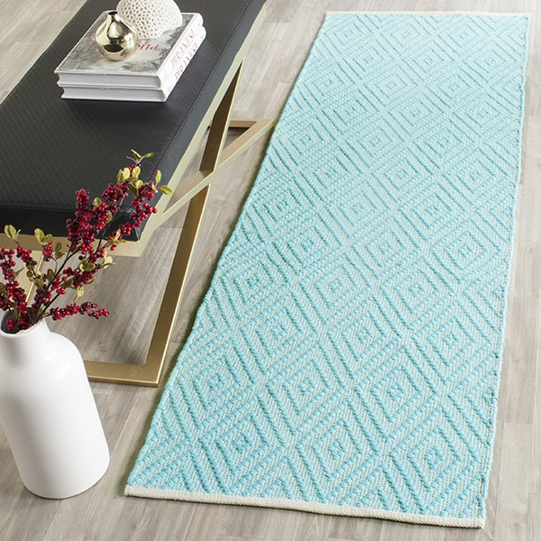 Turquoise, Ivory (H) Contemporary / Modern Area Rug