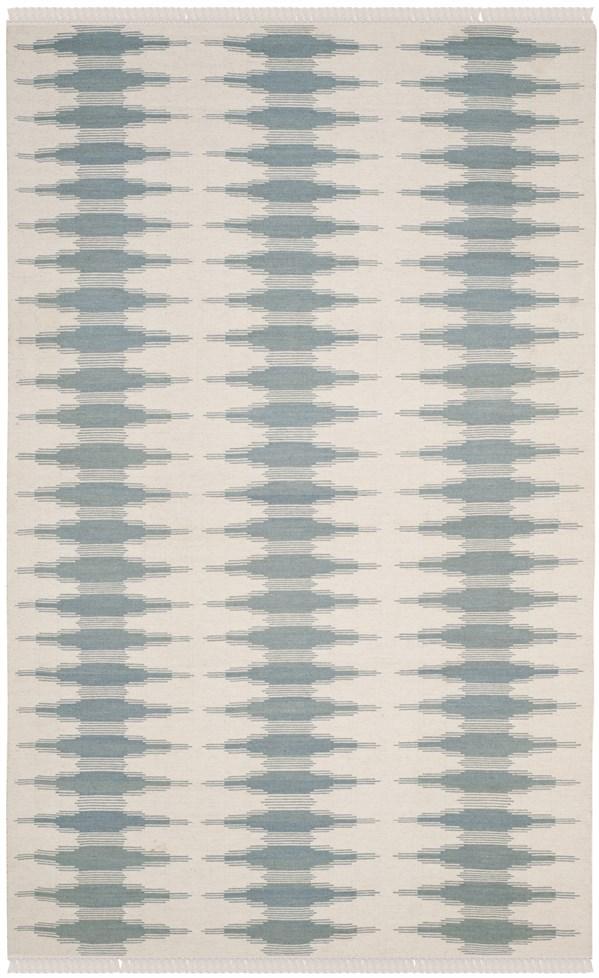 Ivory, Blue (A) Southwestern / Lodge Area Rug