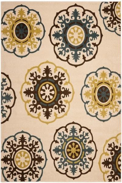 Ivory, Blue (1265) Mandala Area Rug
