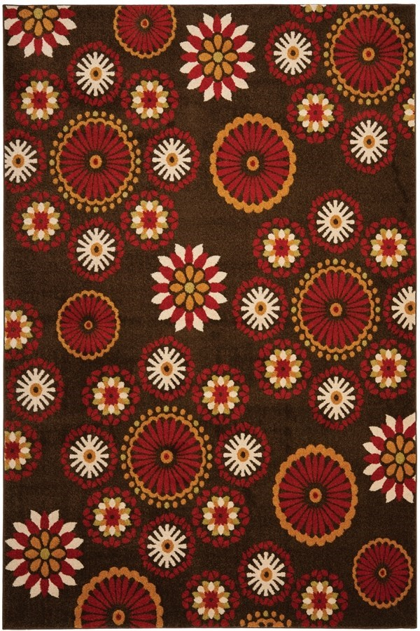 Brown, Red (2540) Transitional Area Rug