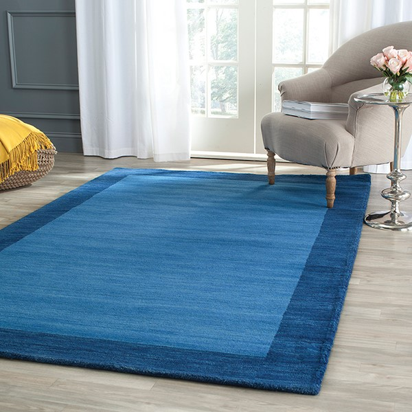 Light Blue, Dark Blue (A) Contemporary / Modern Area Rug