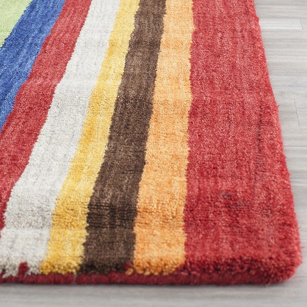 Red, Yellow (A) Contemporary / Modern Area Rug