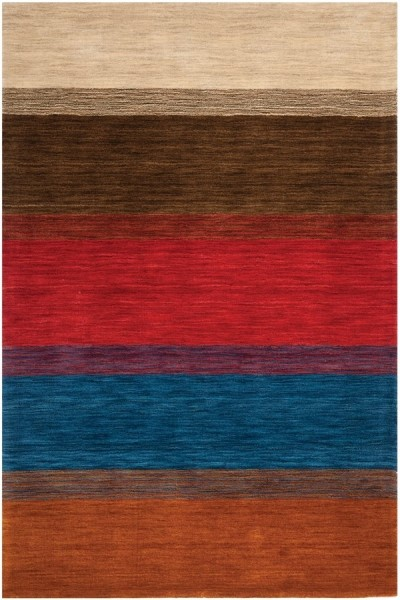 Red, Brown (A) Contemporary / Modern Area Rug