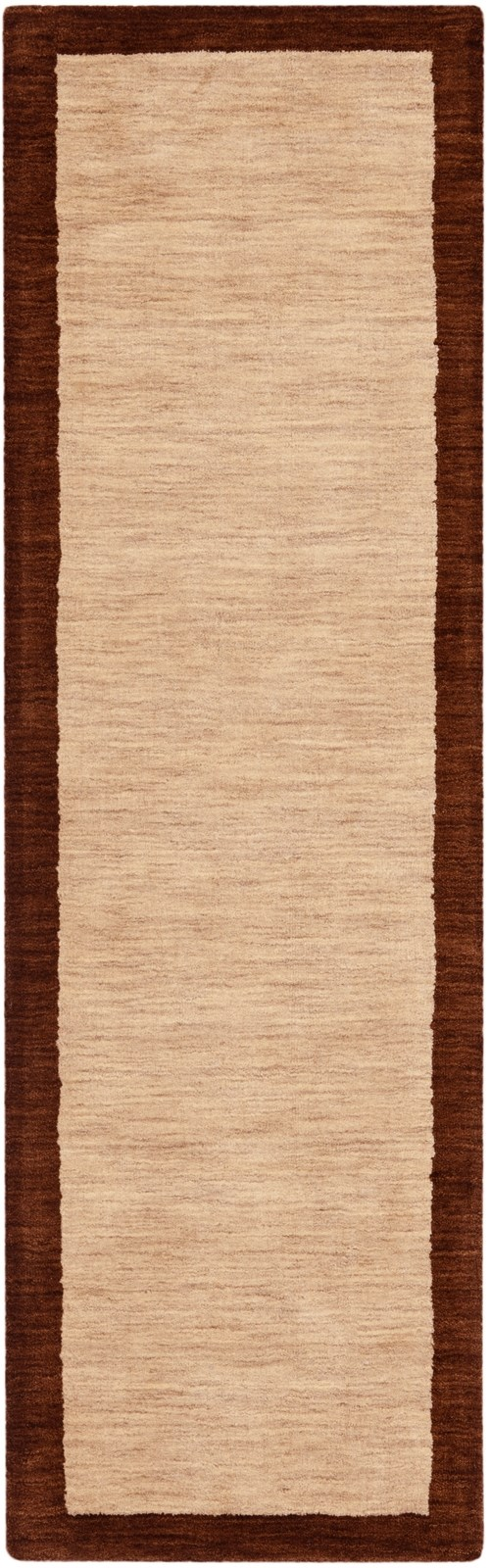 Beige, Dark Brown (A) Bordered Area Rug