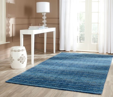 Blue (A) Striped Area Rug