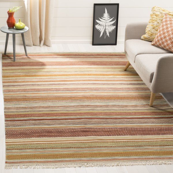Beige (A) Striped Area Rug