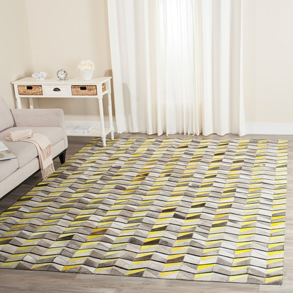 Ivory, Yellow (A) Contemporary / Modern Area Rug