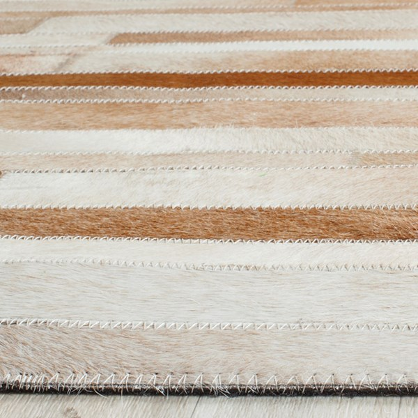 Tan, Ivory (B) Contemporary / Modern Area Rug