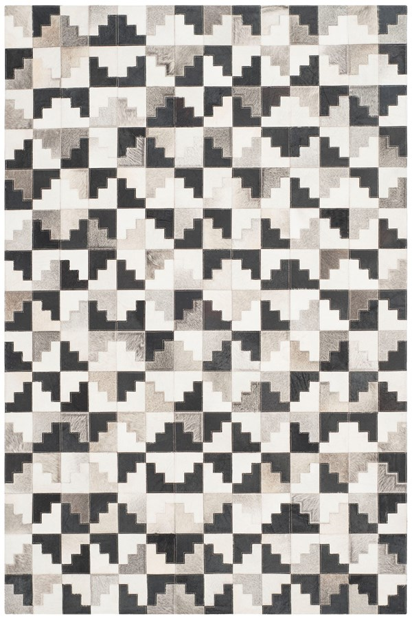 Ivory, Black (A) Contemporary / Modern Area Rug