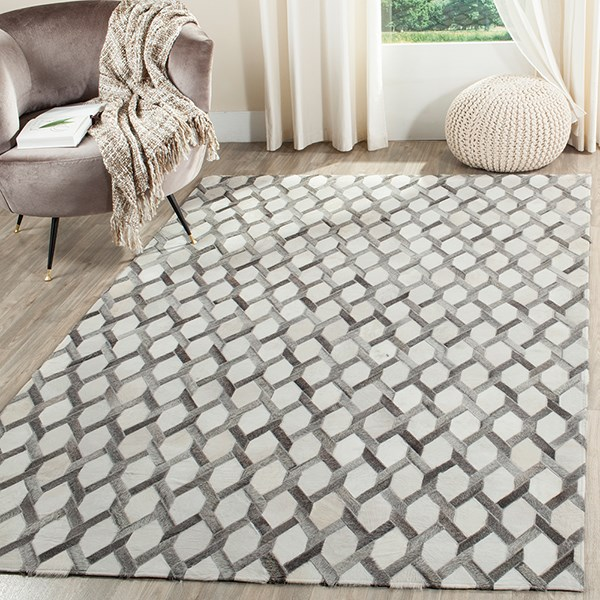 Ivory, Grey (A) Animals / Animal Skins Area Rug