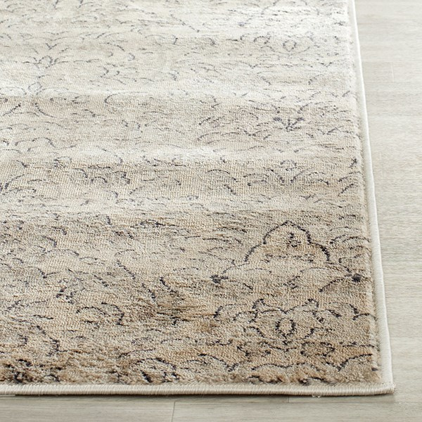 Ivory, Grey (F) Damask Area Rug