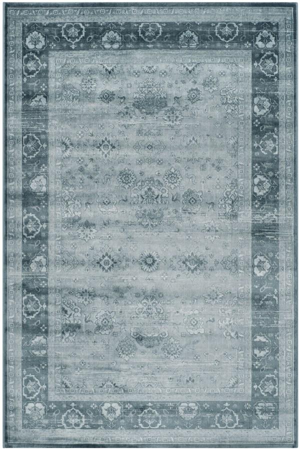 Light Blue, Dark Blue (B) Traditional / Oriental Area Rug