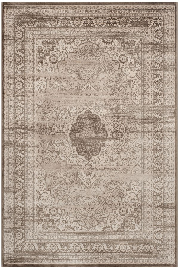 Beige, Light Brown (A) Traditional / Oriental Area Rug