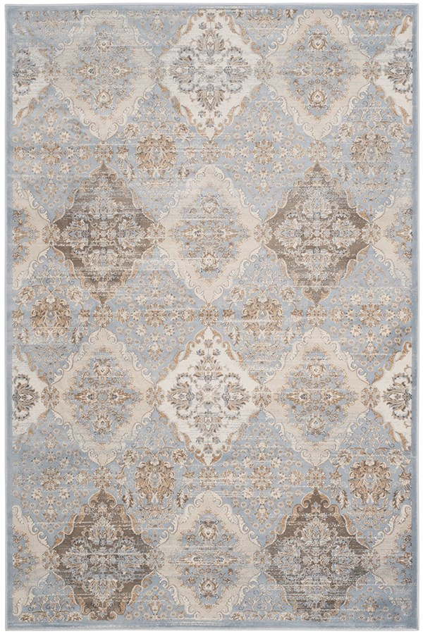 Light Blue, Ivory (L) Traditional / Oriental Area Rug
