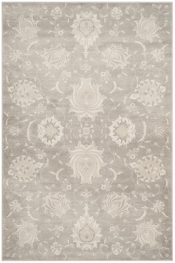 Grey, Ivory (K) Traditional / Oriental Area Rug