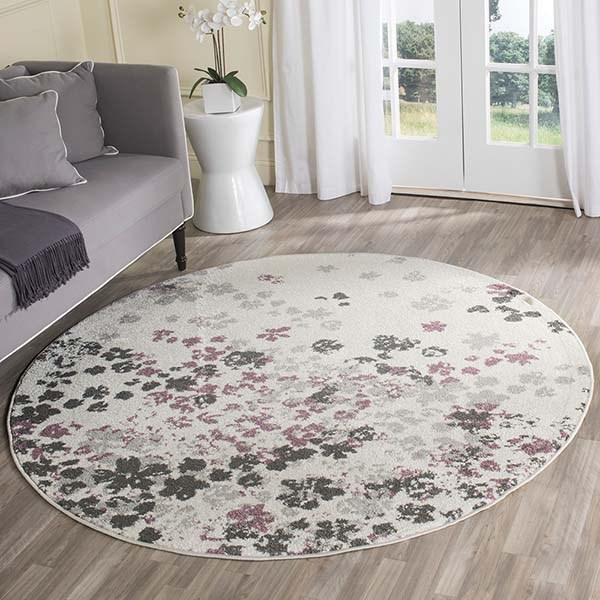 Ivory, Purple (L) Contemporary / Modern Area Rug