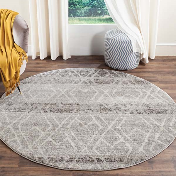 Silver, Ivory (B) Transitional Area Rug