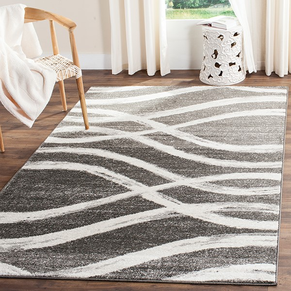 Charcoal, Ivory (R) Contemporary / Modern Area Rug