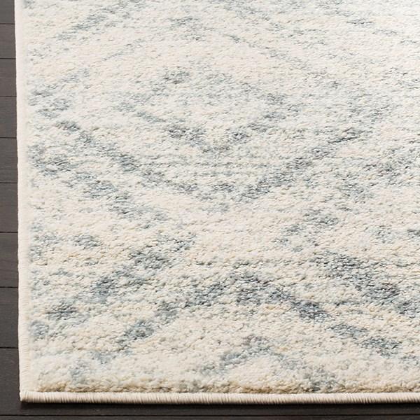 Ivory, Light Blue (T) Rustic / Farmhouse Area Rug