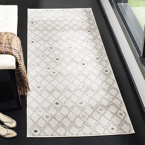 Ivory, Grey (B) Moroccan Area Rug