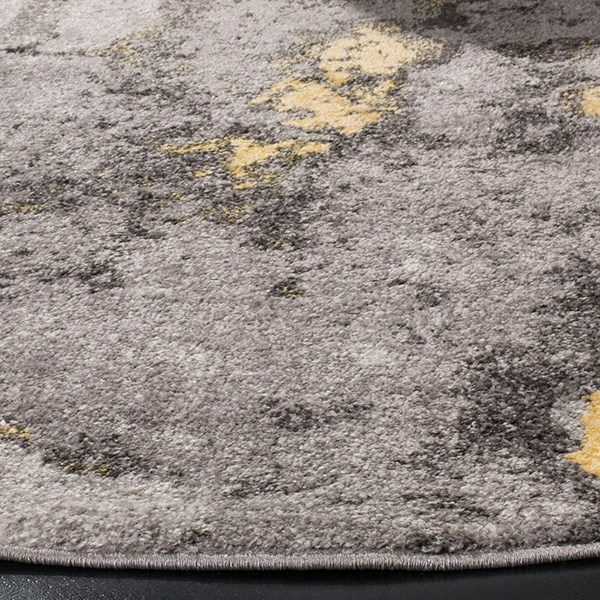 Grey, Yellow (H) Abstract Area Rug