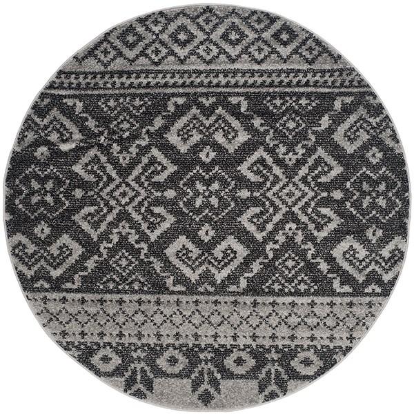 Silver, Black (A) Southwestern / Lodge Area Rug