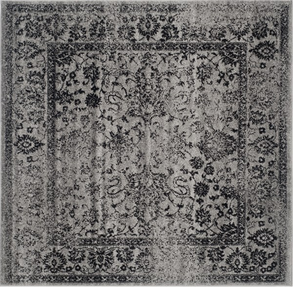 Grey, Black (B) Vintage / Overdyed Area Rug