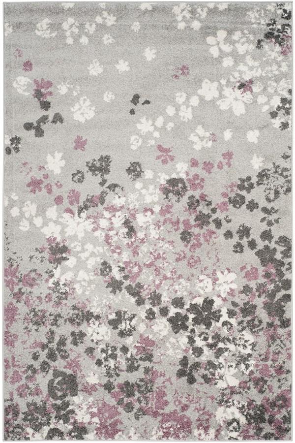 Light Grey, Purple (M) Contemporary / Modern Area Rug