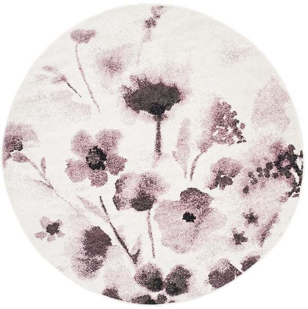 Ivory, Purple (L) Floral / Botanical Area Rug