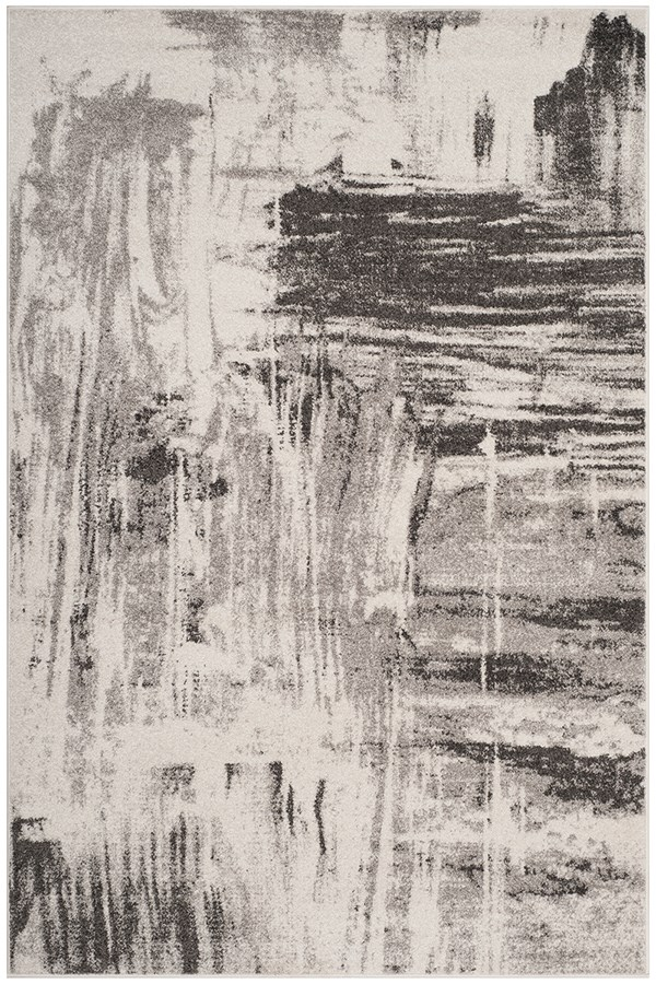 Ivory, Grey (C) Abstract Area Rug